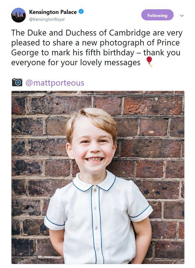 Принцот Џорџ наполни 5 години