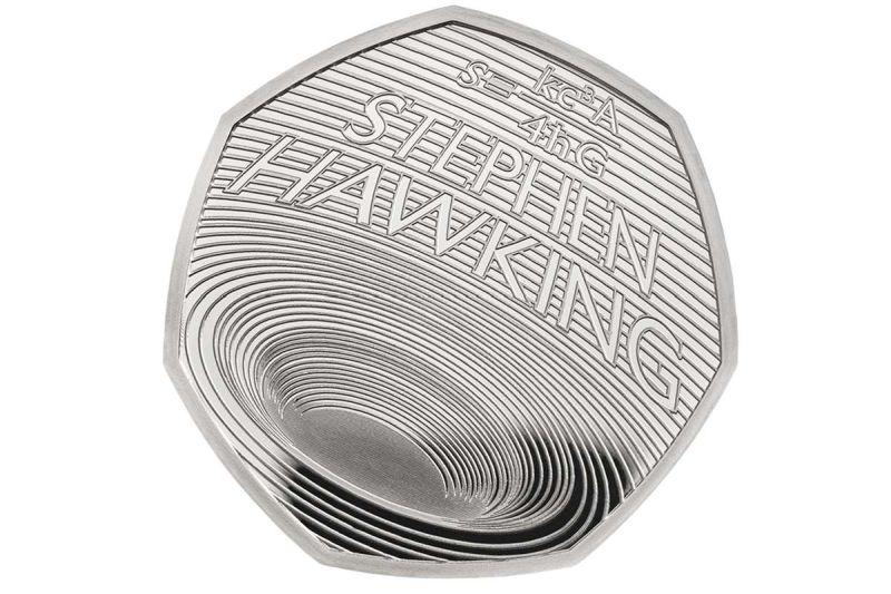 Стивен Хокинг на британската монета од 50 пени