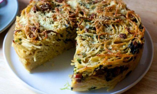 Потпечени карбонара шпагети